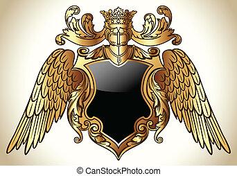 szárnyas, embléma, arany