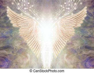 szárnyas, fény, fogalom, angelic being