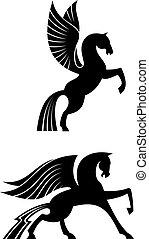 szárnyas, lovak, fekete, két