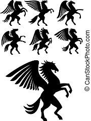szárnyas, nevelés, pegazus, fekete, lovak