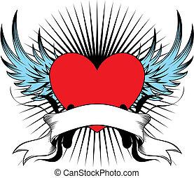szárnyas, szív, embléma