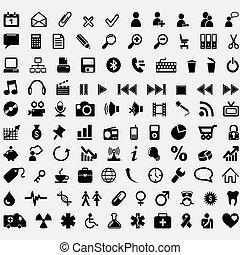 száz, vektor, ikonok