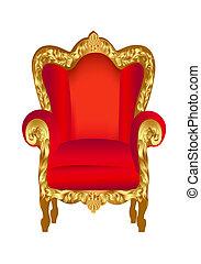 szék, öreg, piros, arany