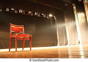 szék, üres, színház, fokozat