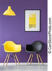 szék, fekete, sárga
