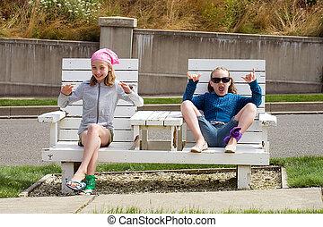 szék, gyerekek, liget, két