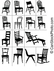 szék, silhouettes., állhatatos, nagy, otthon
