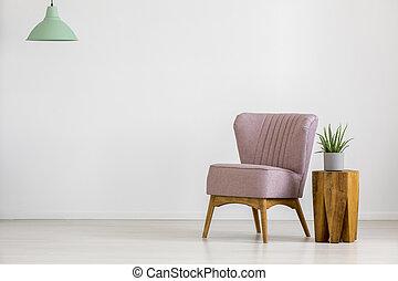 szék, szoba, üres, retro