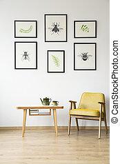 szék, szoba, sárga, retro