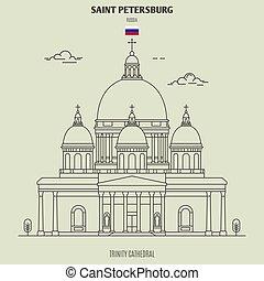 székesegyház, határkő, háromság, russia., szent, ikon, petersburg