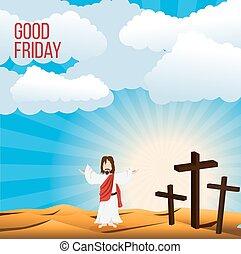széles, fogalom, krisztus, péntek, ábra, jézus, jó, háttér, nyílik, kar