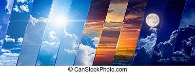 széles, transzparens, előre lát, időjárás, éjszaka, nap