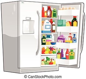 szélesség, hűtőgép, megkettőz, nyílik