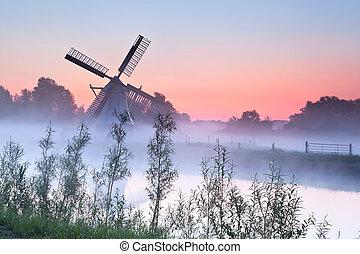 szélmalom, bájos, napkelte, holland