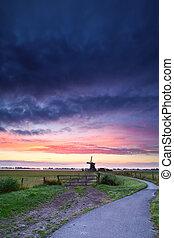 szélmalom, bicikli, út, holland