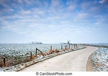 szélmalom, bicikli, tél, út