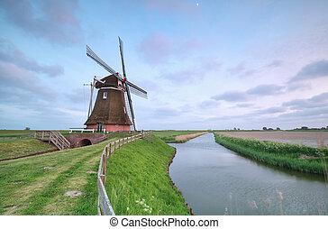 szélmalom, csatorna, öreg, holland