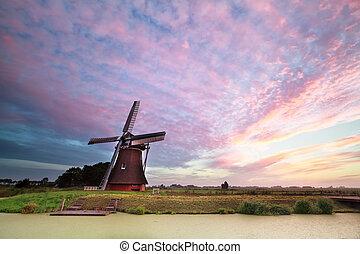szélmalom, csatorna, napkelte, közben, holland