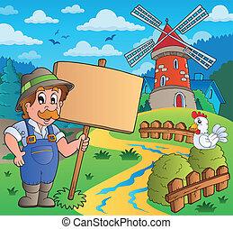 szélmalom, farmer, aláír