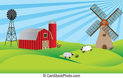szélmalom, farmland, istálló