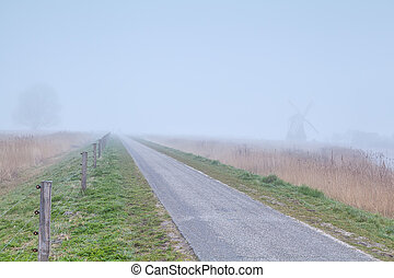 szélmalom, farmland, köd, holland