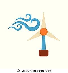 szélmalom, háló, lakás, energia, ábra, címke, háttér., vektor, icon., fehér