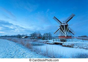 szélmalom, hó, holland, tél, szürkület