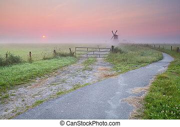 szélmalom, köd, bicikli, út
