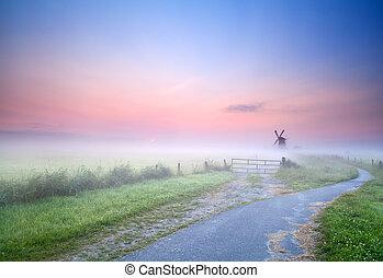 szélmalom, köd, irány, reggel