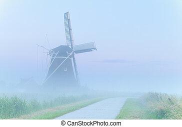 szélmalom, köd, sűrű, bájos