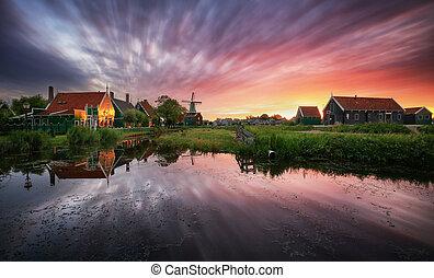 szélmalom, landcape, canal., hagyományos, napnyugta, holland, németalföld