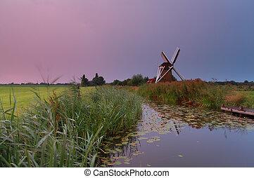 szélmalom, napkelte, holland