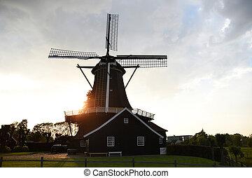 szélmalom, napnyugta, hollandia, amszterdam, holland