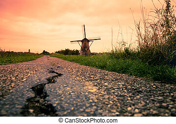 szélmalom, napnyugta, hollandia, holland