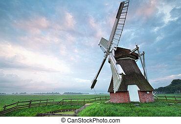 szélmalom, nyár, napkelte, holland