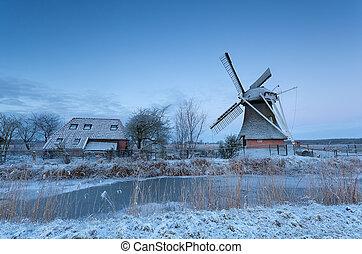 szélmalom, tél, napkelte, holland