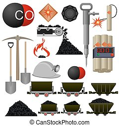 szén akna, kifogásol, iparág
