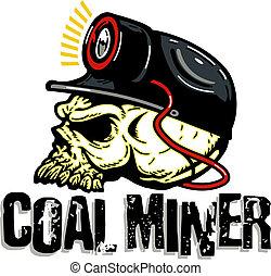 szén bányász, koponya