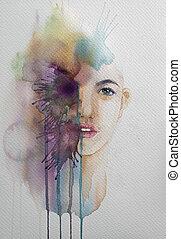 szépség, húzott, portré, festmény, ábra, kéz, woman., dolgozat, fehér, vízfestmény