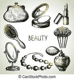 szépség, kozmetikum, set., ikon, vektor, skicc, ábra, szüret, kéz, húzott