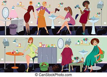 szépség salon, transzparens, munkás
