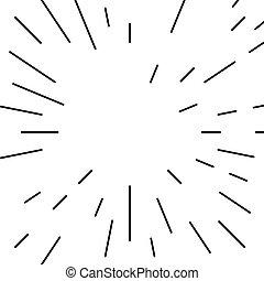 szétrepedés, motívum, megvonalaz, radiális, monochrom, geometriai, kör alakú