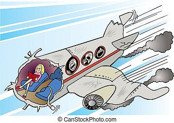 szétzúz, leány, repülőgép, csendes