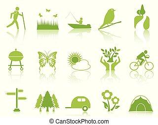 szín, állhatatos, zöld, kert, ikonok