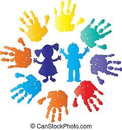 szín, árnykép, gyerekek, kézbesít