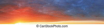 szín, ég, -, körképszerű, napnyugta, háttér, kilátás
