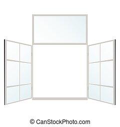 szín, ablak, vektor, fehér, ábra