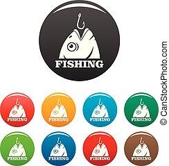 szín, begörbít, fish, állhatatos, ikonok