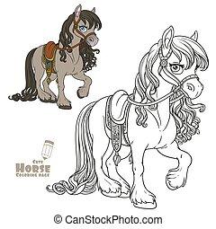 szín, buja, fehér, körvonalazott, csinos, sörény, nyereg, könyv, harnessed, film, színezés, háttér, ló