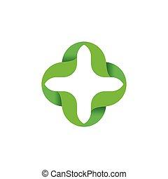 szín, elvont, logo., icon., elszigetelt, körvonalazott, vektor, plusz, zöld, cégtábla., számtan, orvosi, illustration., logotype., kereszt